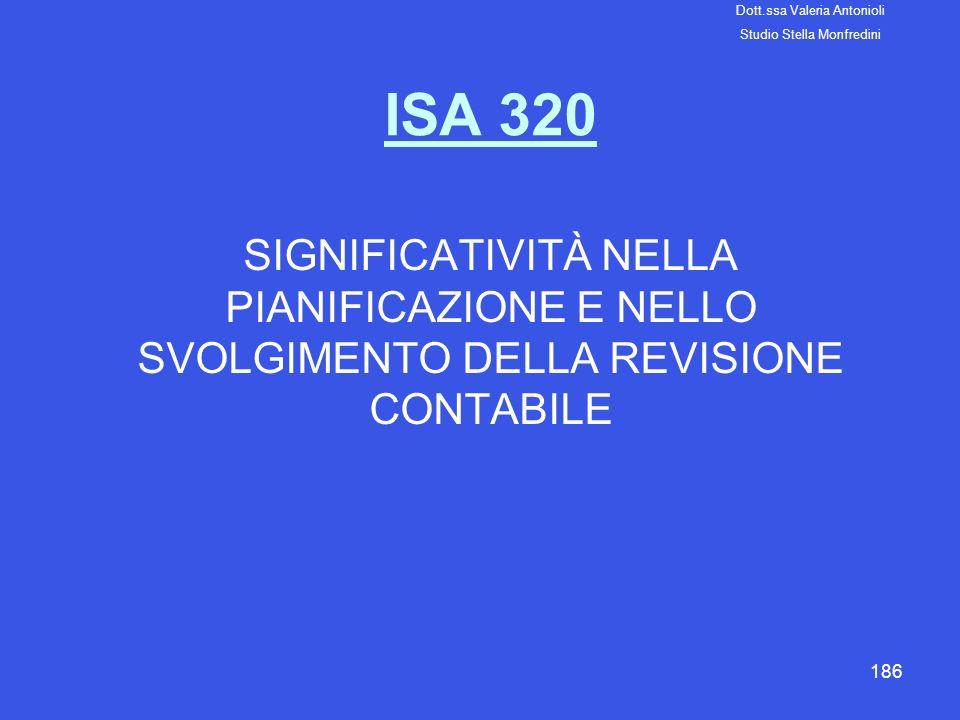 186 ISA 320 SIGNIFICATIVITÀ NELLA PIANIFICAZIONE E NELLO SVOLGIMENTO DELLA REVISIONE CONTABILE Dott.ssa Valeria Antonioli Studio Stella Monfredini