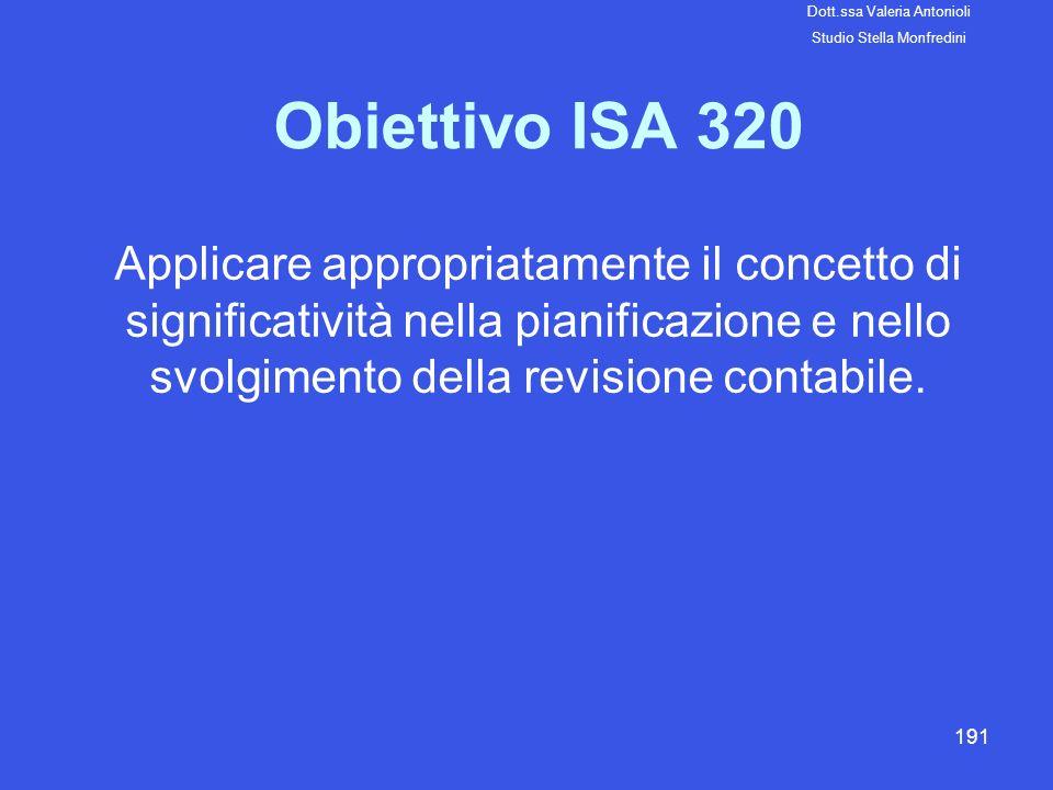 191 Obiettivo ISA 320 Applicare appropriatamente il concetto di significatività nella pianificazione e nello svolgimento della revisione contabile. Do