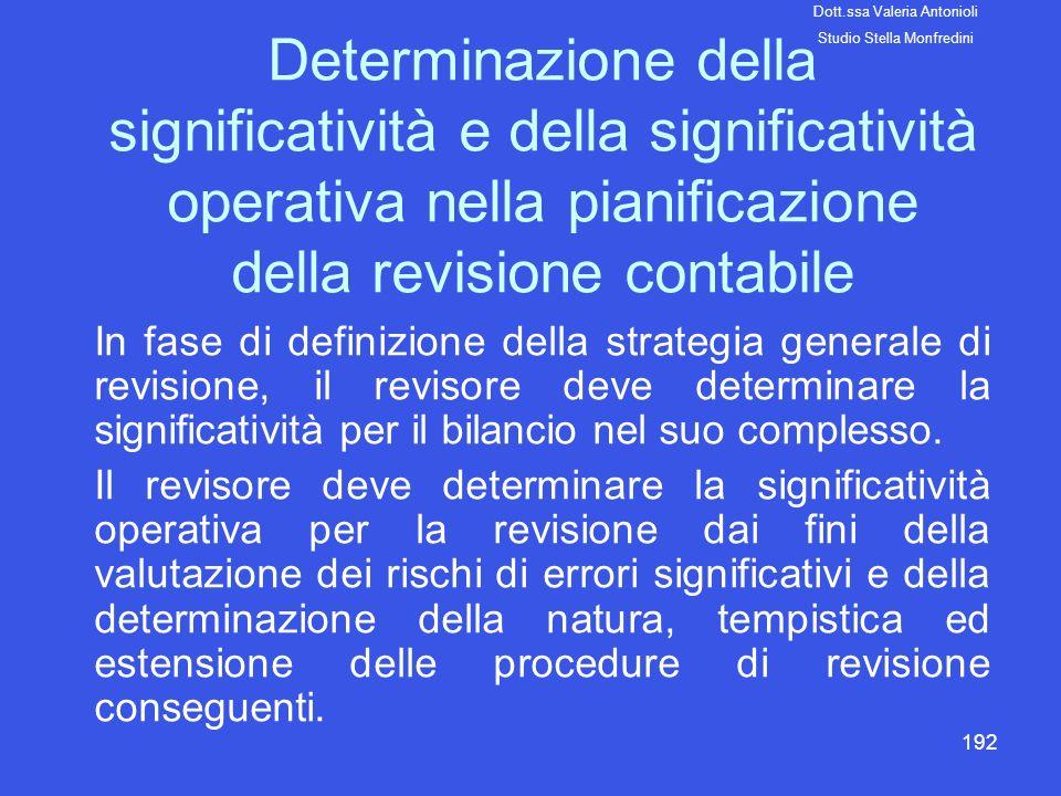 192 Determinazione della significatività e della significatività operativa nella pianificazione della revisione contabile In fase di definizione della