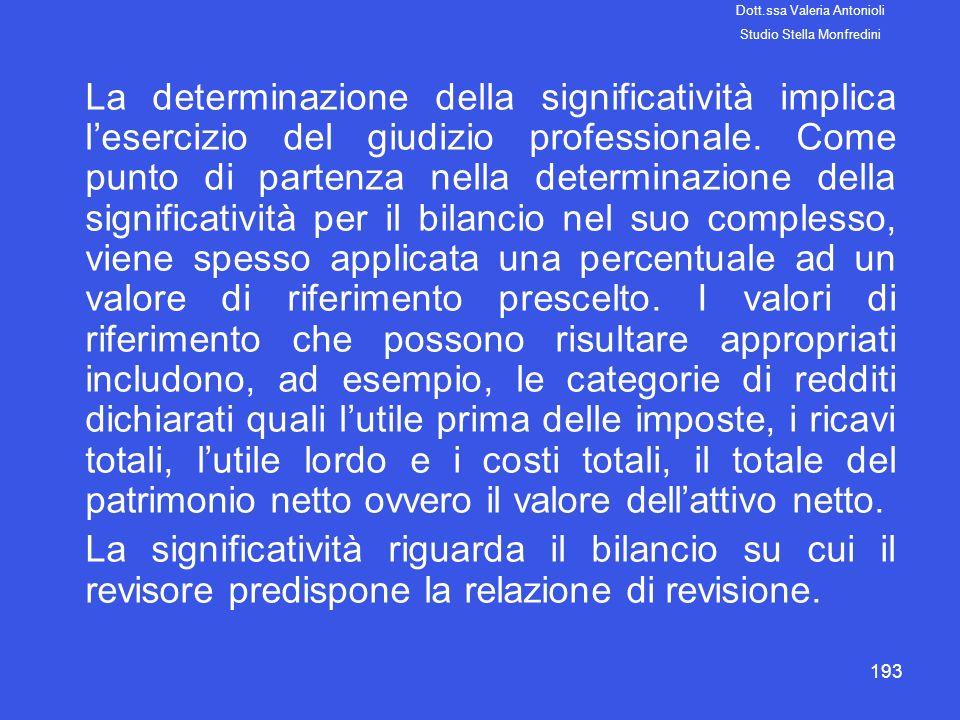193 La determinazione della significatività implica lesercizio del giudizio professionale. Come punto di partenza nella determinazione della significa