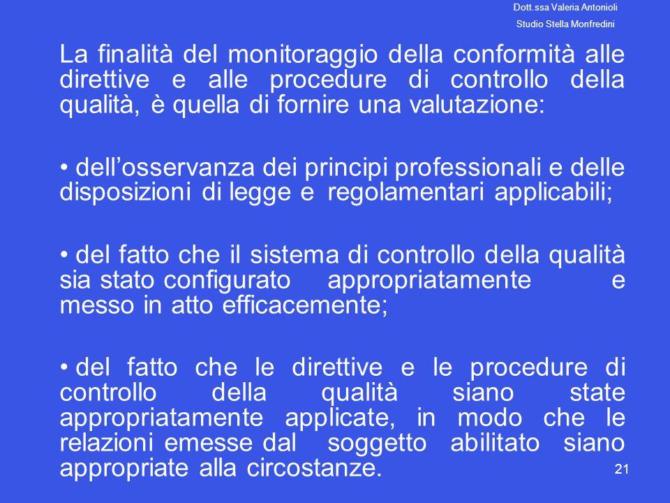 21 La finalità del monitoraggio della conformità alle direttive e alle procedure di controllo della qualità, è quella di fornire una valutazione: dell