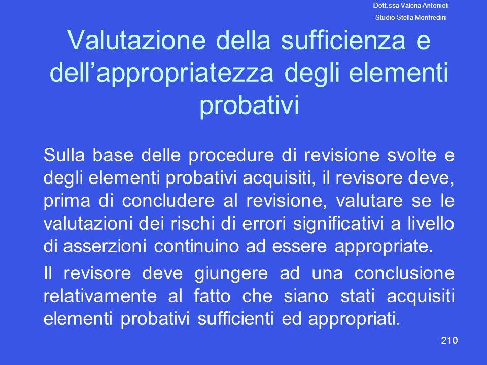 210 Valutazione della sufficienza e dellappropriatezza degli elementi probativi Sulla base delle procedure di revisione svolte e degli elementi probat