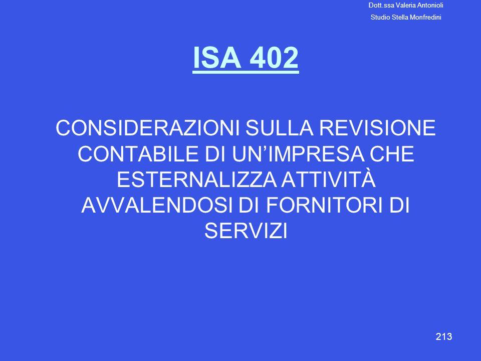 213 ISA 402 CONSIDERAZIONI SULLA REVISIONE CONTABILE DI UNIMPRESA CHE ESTERNALIZZA ATTIVITÀ AVVALENDOSI DI FORNITORI DI SERVIZI Dott.ssa Valeria Anton
