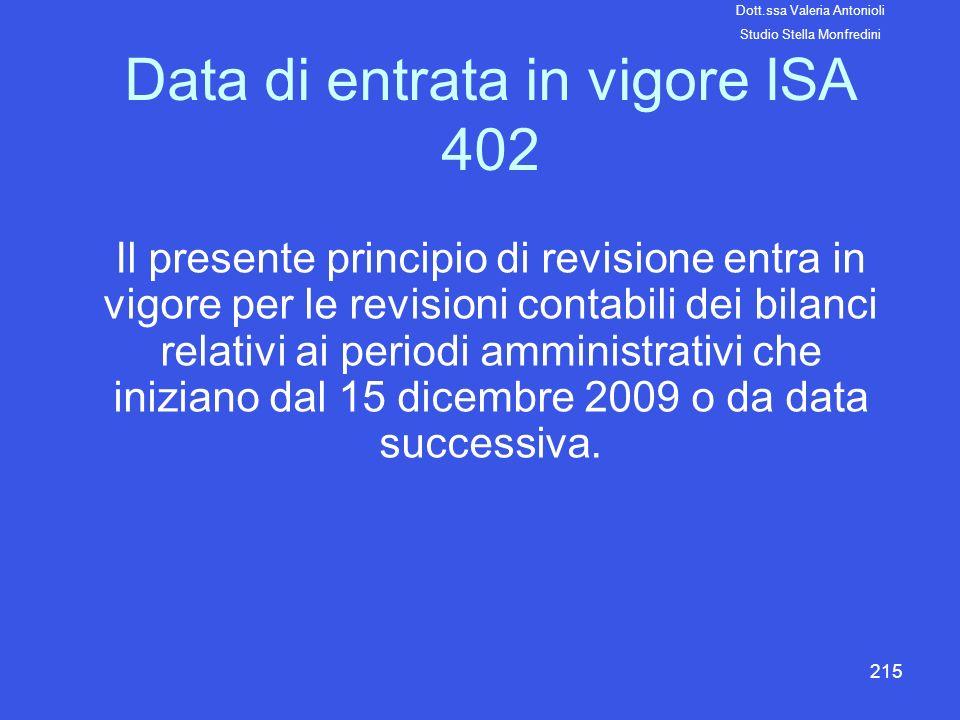 215 Data di entrata in vigore ISA 402 Il presente principio di revisione entra in vigore per le revisioni contabili dei bilanci relativi ai periodi am