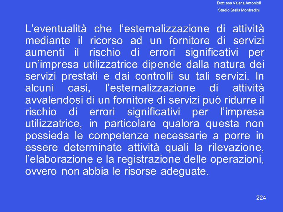 224 Leventualità che lesternalizzazione di attività mediante il ricorso ad un fornitore di servizi aumenti il rischio di errori significativi per unim