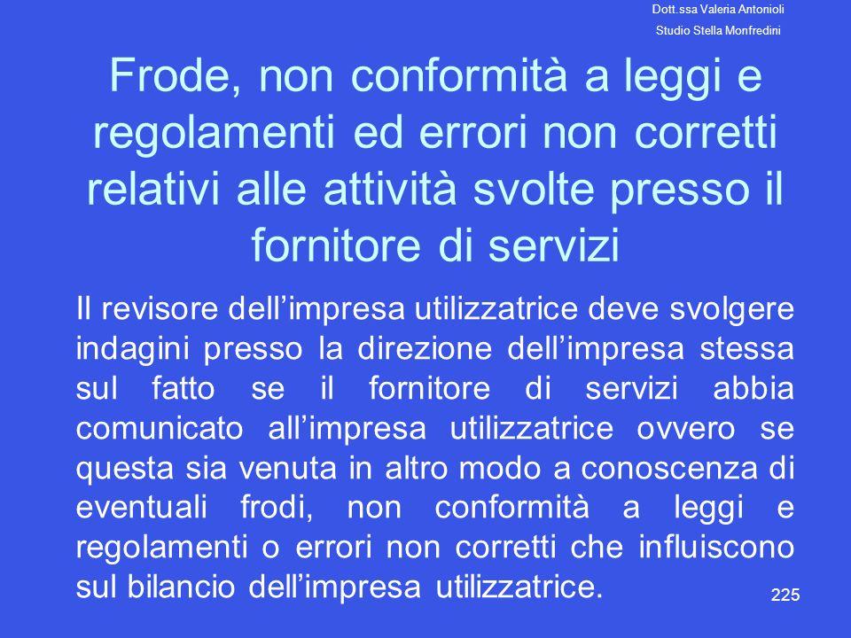 225 Frode, non conformità a leggi e regolamenti ed errori non corretti relativi alle attività svolte presso il fornitore di servizi Il revisore dellim