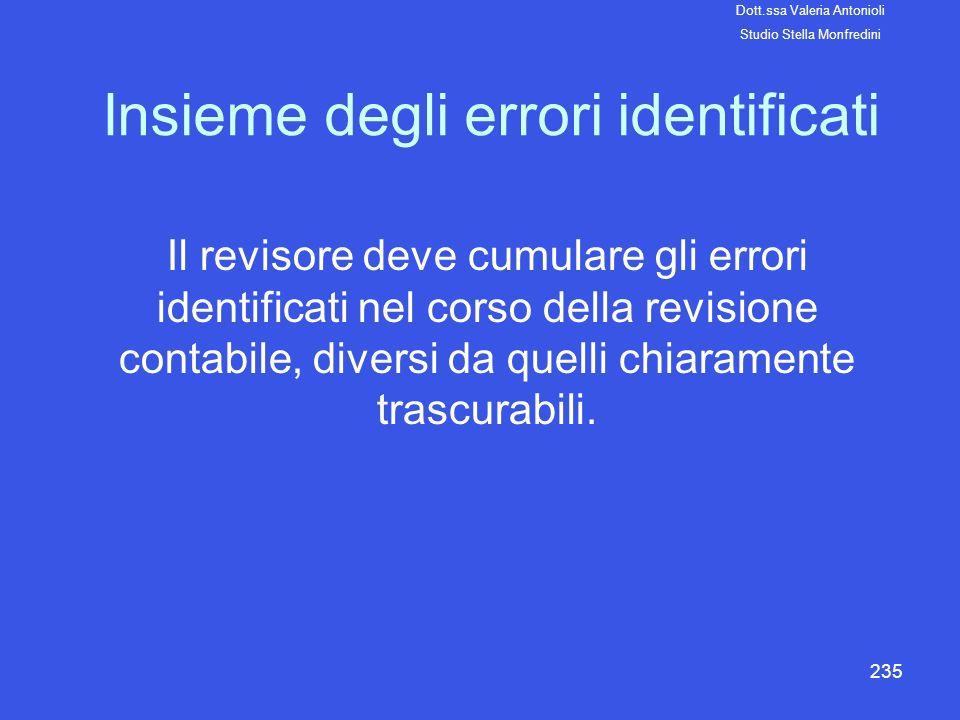 235 Insieme degli errori identificati Il revisore deve cumulare gli errori identificati nel corso della revisione contabile, diversi da quelli chiaram