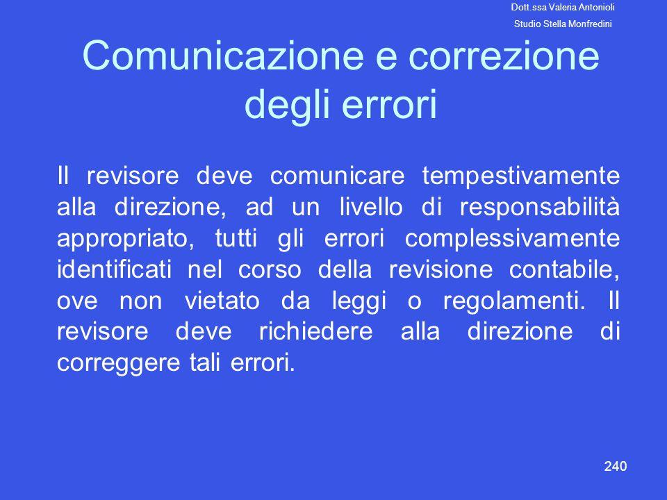 240 Comunicazione e correzione degli errori Il revisore deve comunicare tempestivamente alla direzione, ad un livello di responsabilità appropriato, t