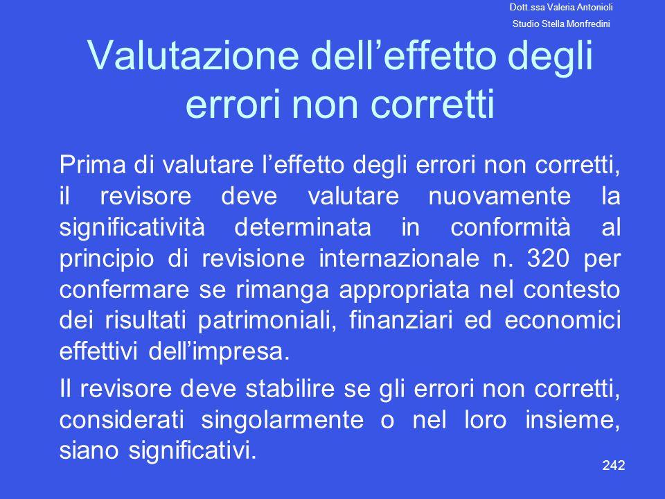 242 Valutazione delleffetto degli errori non corretti Prima di valutare leffetto degli errori non corretti, il revisore deve valutare nuovamente la si