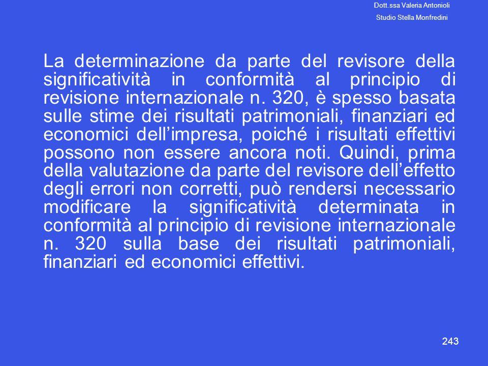 243 La determinazione da parte del revisore della significatività in conformità al principio di revisione internazionale n. 320, è spesso basata sulle