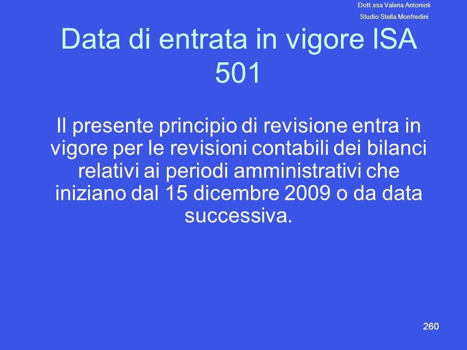 260 Data di entrata in vigore ISA 501 Il presente principio di revisione entra in vigore per le revisioni contabili dei bilanci relativi ai periodi am