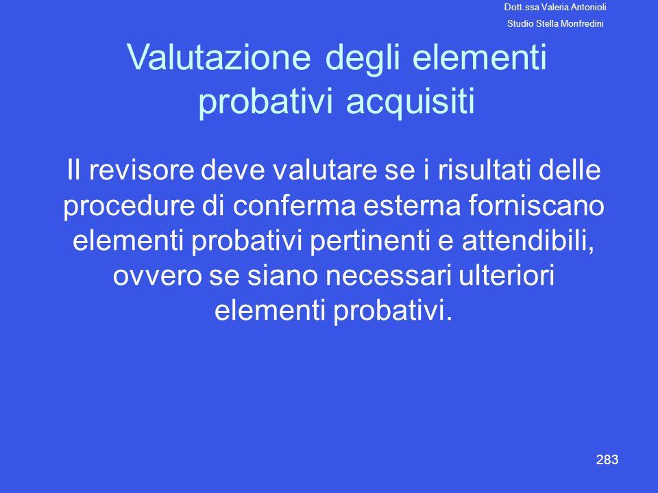 283 Valutazione degli elementi probativi acquisiti Il revisore deve valutare se i risultati delle procedure di conferma esterna forniscano elementi pr