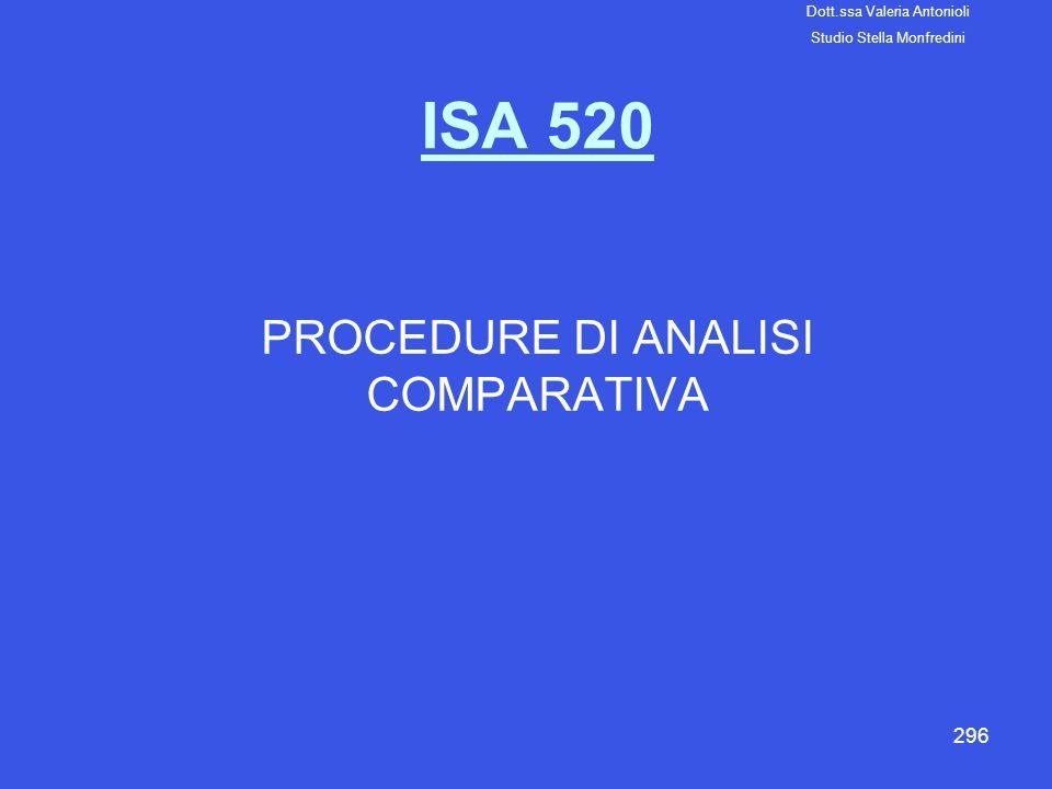296 ISA 520 PROCEDURE DI ANALISI COMPARATIVA Dott.ssa Valeria Antonioli Studio Stella Monfredini