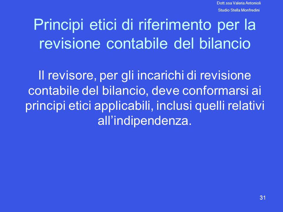 31 Principi etici di riferimento per la revisione contabile del bilancio Il revisore, per gli incarichi di revisione contabile del bilancio, deve conf