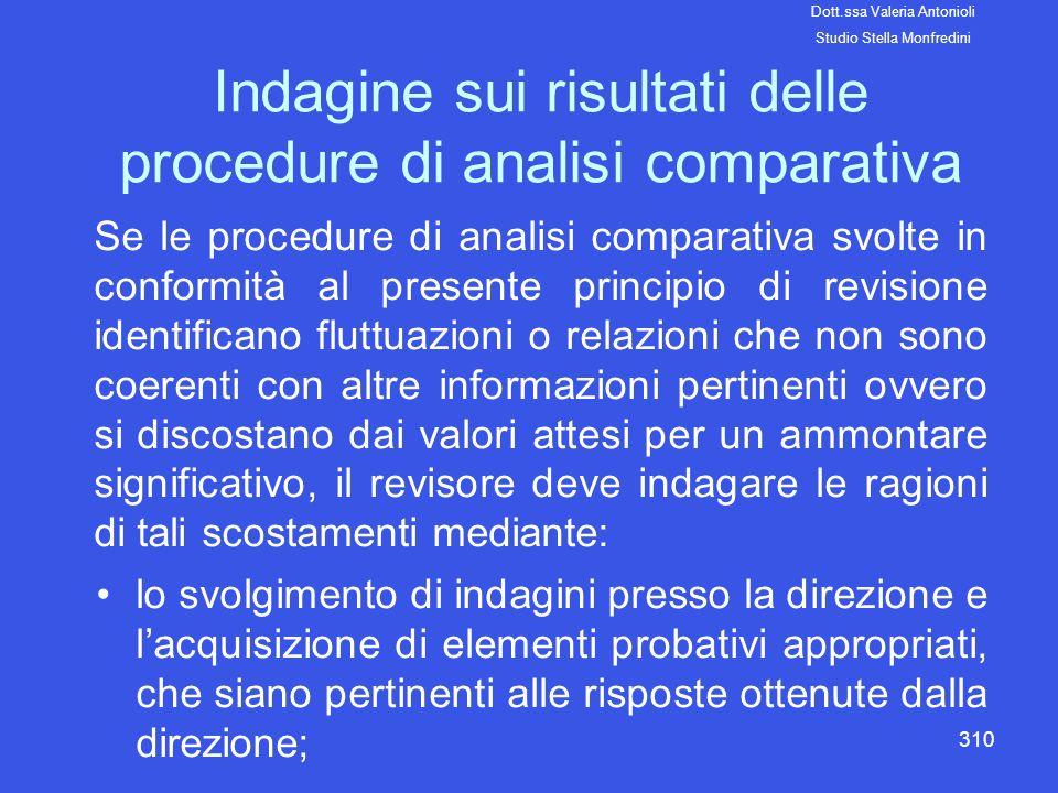 310 Indagine sui risultati delle procedure di analisi comparativa Se le procedure di analisi comparativa svolte in conformità al presente principio di