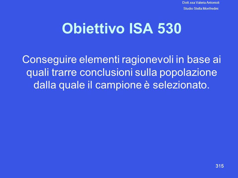 315 Obiettivo ISA 530 Conseguire elementi ragionevoli in base ai quali trarre conclusioni sulla popolazione dalla quale il campione è selezionato. Dot