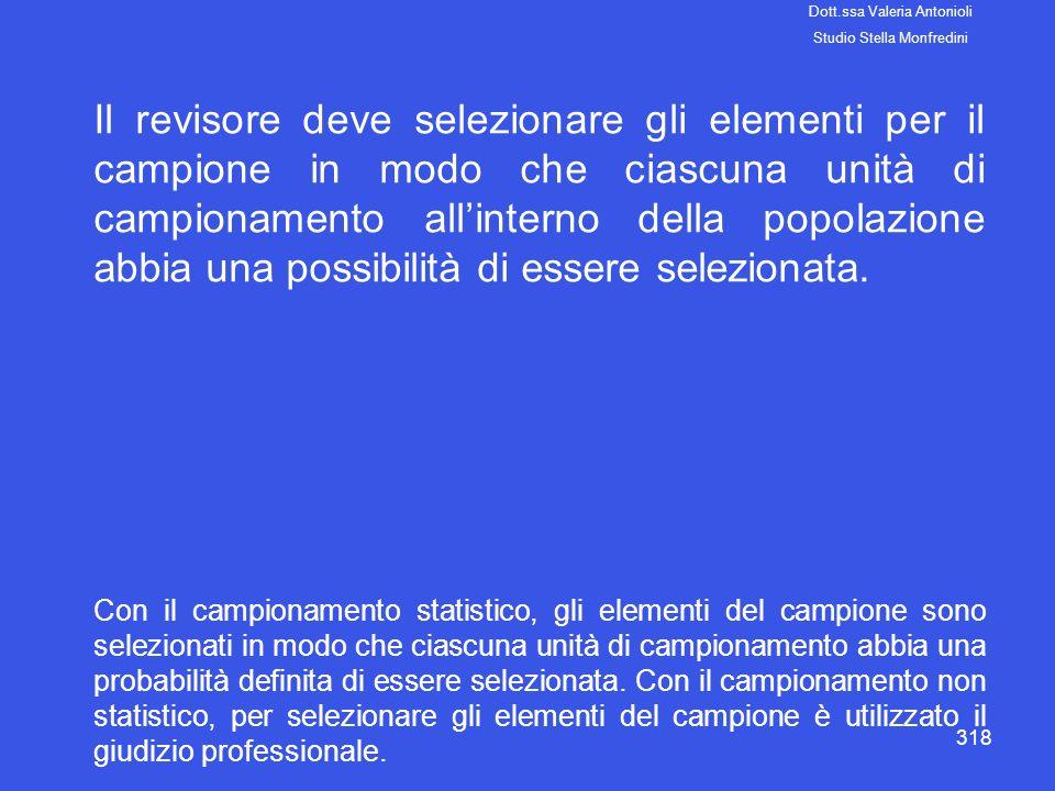 318 Il revisore deve selezionare gli elementi per il campione in modo che ciascuna unità di campionamento allinterno della popolazione abbia una possi