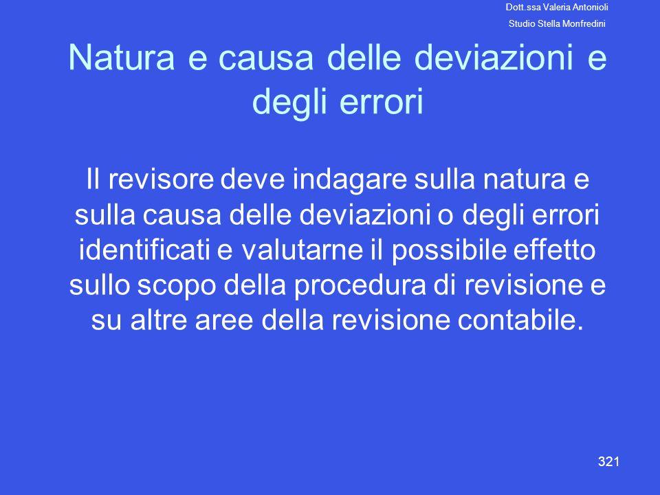 321 Natura e causa delle deviazioni e degli errori Il revisore deve indagare sulla natura e sulla causa delle deviazioni o degli errori identificati e