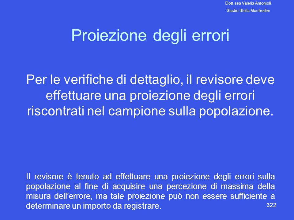 322 Proiezione degli errori Per le verifiche di dettaglio, il revisore deve effettuare una proiezione degli errori riscontrati nel campione sulla popo