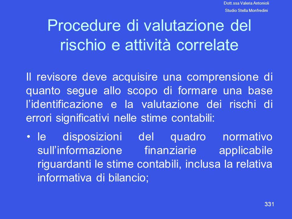 331 Procedure di valutazione del rischio e attività correlate Il revisore deve acquisire una comprensione di quanto segue allo scopo di formare una ba