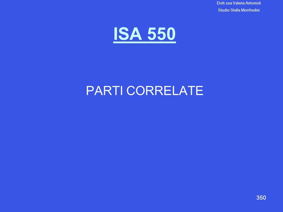 350 ISA 550 PARTI CORRELATE Dott.ssa Valeria Antonioli Studio Stella Monfredini