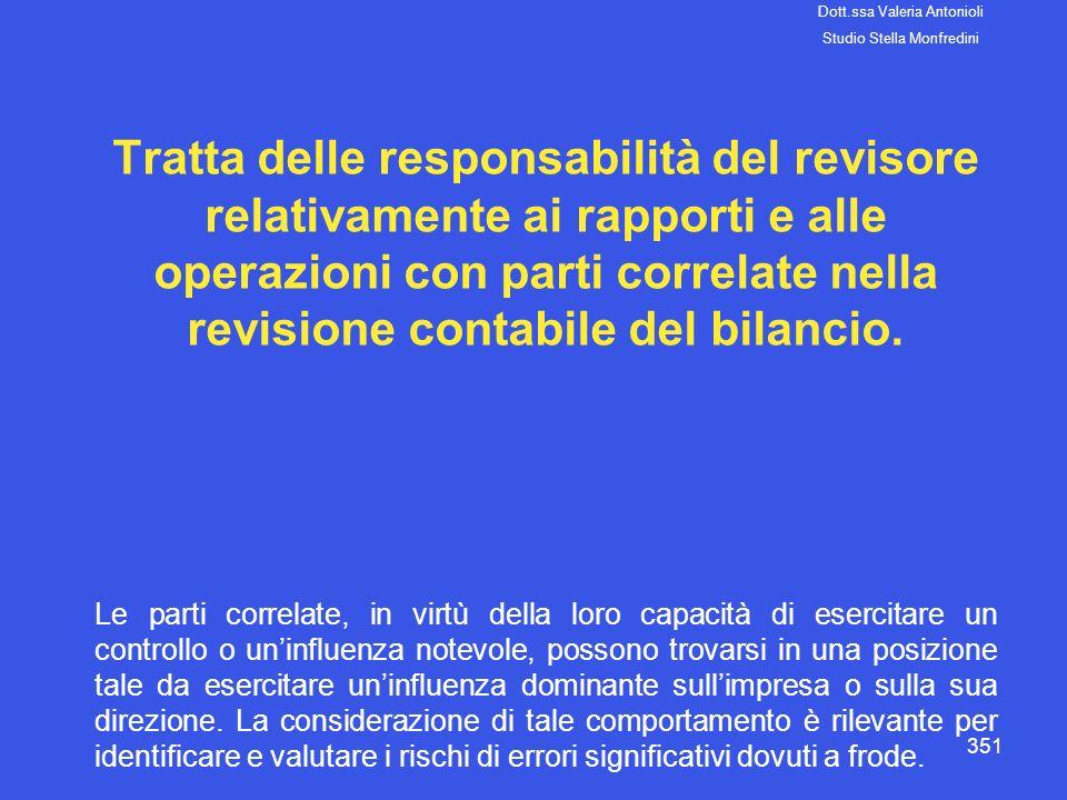 351 Tratta delle responsabilità del revisore relativamente ai rapporti e alle operazioni con parti correlate nella revisione contabile del bilancio. L