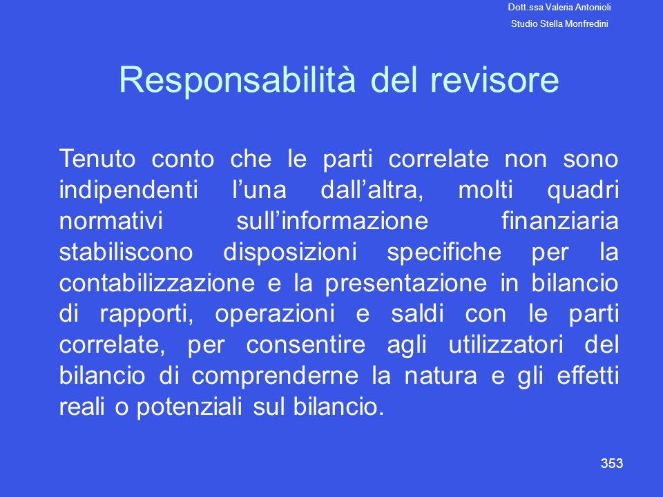 353 Responsabilità del revisore Tenuto conto che le parti correlate non sono indipendenti luna dallaltra, molti quadri normativi sullinformazione fina