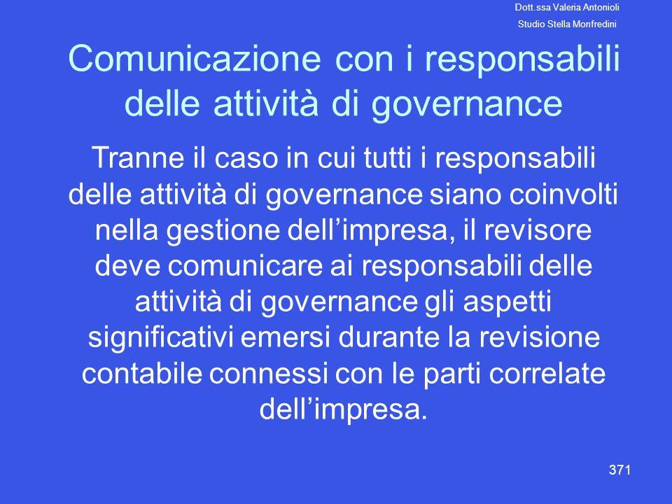 371 Comunicazione con i responsabili delle attività di governance Tranne il caso in cui tutti i responsabili delle attività di governance siano coinvo