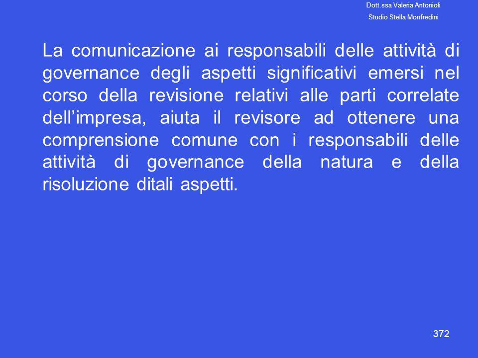 372 La comunicazione ai responsabili delle attività di governance degli aspetti significativi emersi nel corso della revisione relativi alle parti cor