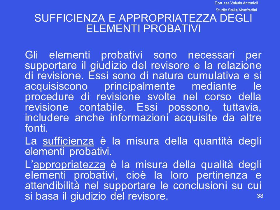 38 SUFFICIENZA E APPROPRIATEZZA DEGLI ELEMENTI PROBATIVI Gli elementi probativi sono necessari per supportare il giudizio del revisore e la relazione