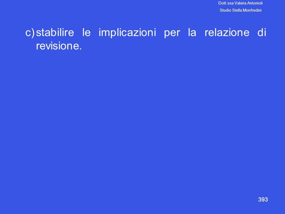 393 c)stabilire le implicazioni per la relazione di revisione. Dott.ssa Valeria Antonioli Studio Stella Monfredini