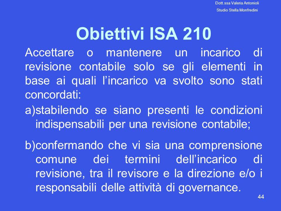 44 Obiettivi ISA 210 Accettare o mantenere un incarico di revisione contabile solo se gli elementi in base ai quali lincarico va svolto sono stati con