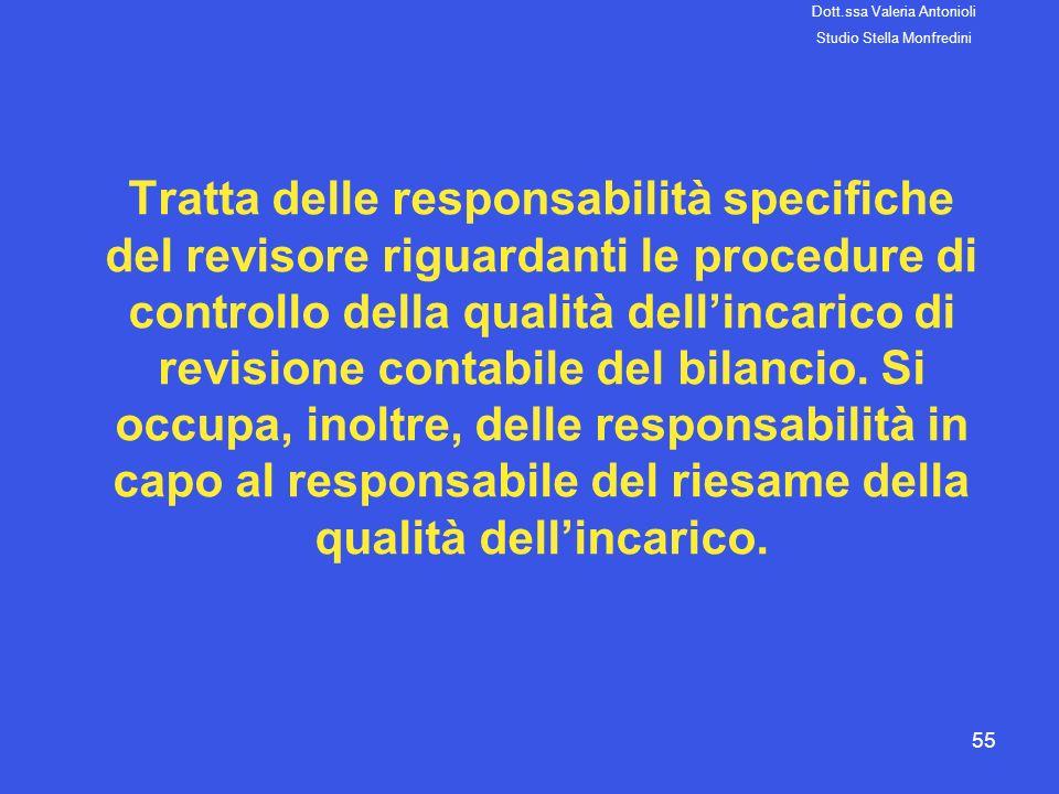 55 Tratta delle responsabilità specifiche del revisore riguardanti le procedure di controllo della qualità dellincarico di revisione contabile del bil