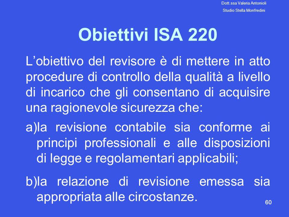 60 Obiettivi ISA 220 Lobiettivo del revisore è di mettere in atto procedure di controllo della qualità a livello di incarico che gli consentano di acq