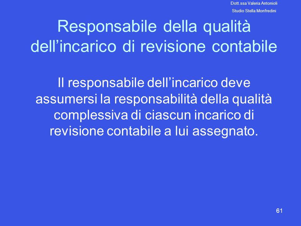 61 Responsabile della qualità dellincarico di revisione contabile Il responsabile dellincarico deve assumersi la responsabilità della qualità compless