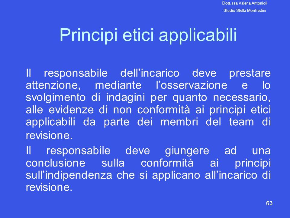 63 Principi etici applicabili Il responsabile dellincarico deve prestare attenzione, mediante losservazione e lo svolgimento di indagini per quanto ne