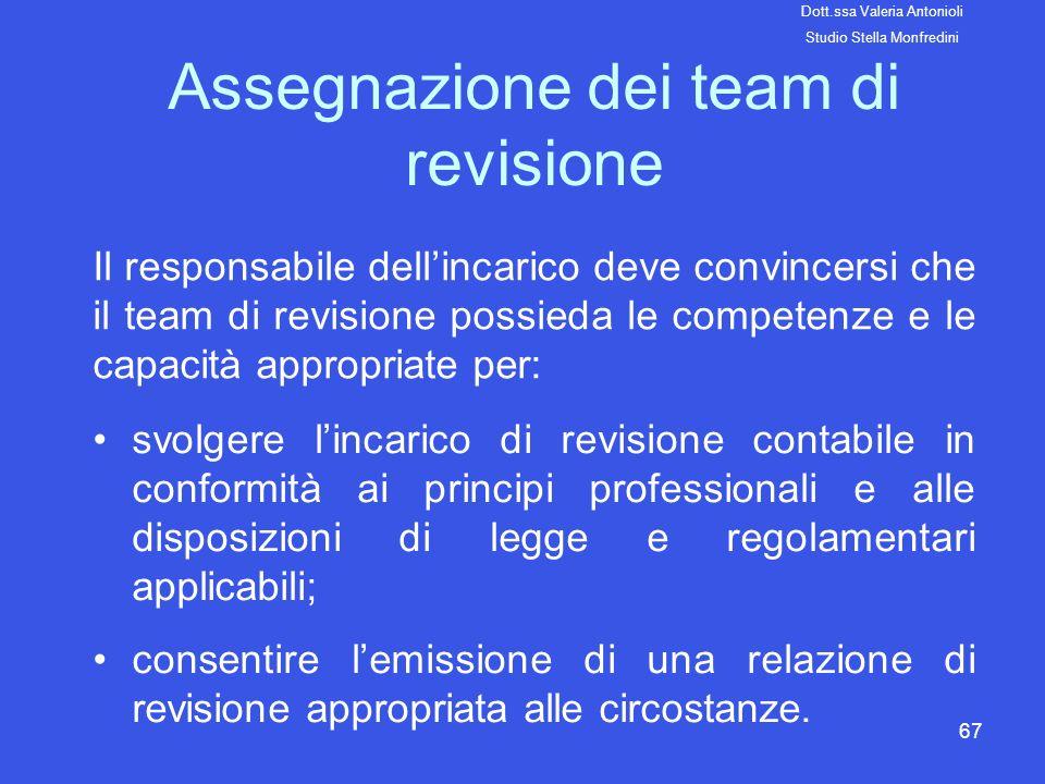 67 Assegnazione dei team di revisione Il responsabile dellincarico deve convincersi che il team di revisione possieda le competenze e le capacità appr