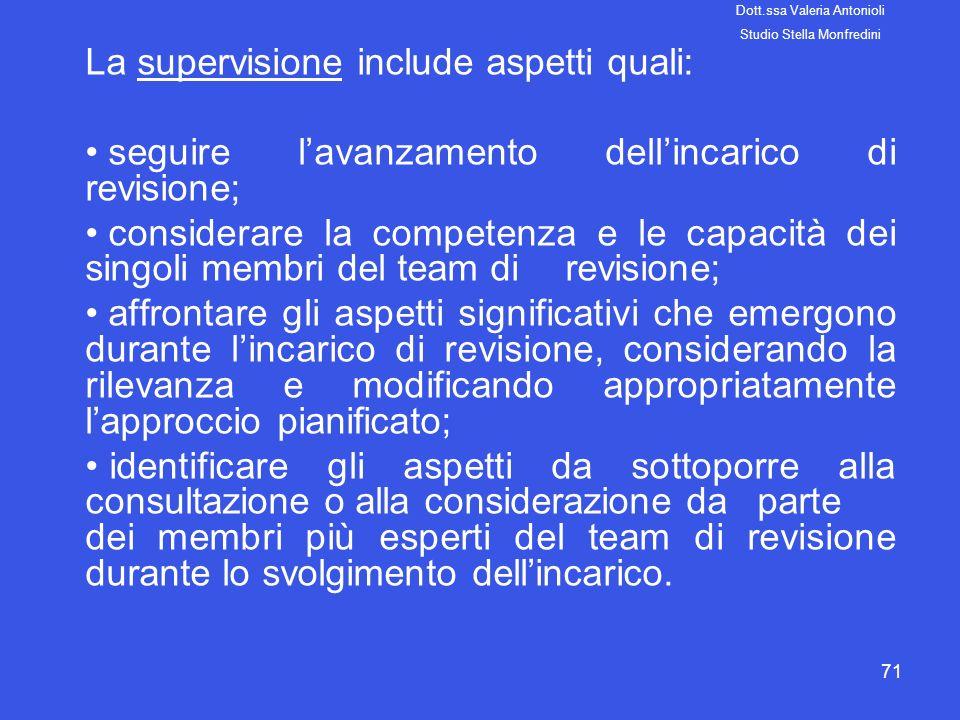 71 La supervisione include aspetti quali: seguire lavanzamento dellincarico di revisione; considerare la competenza e le capacità dei singoli membri d