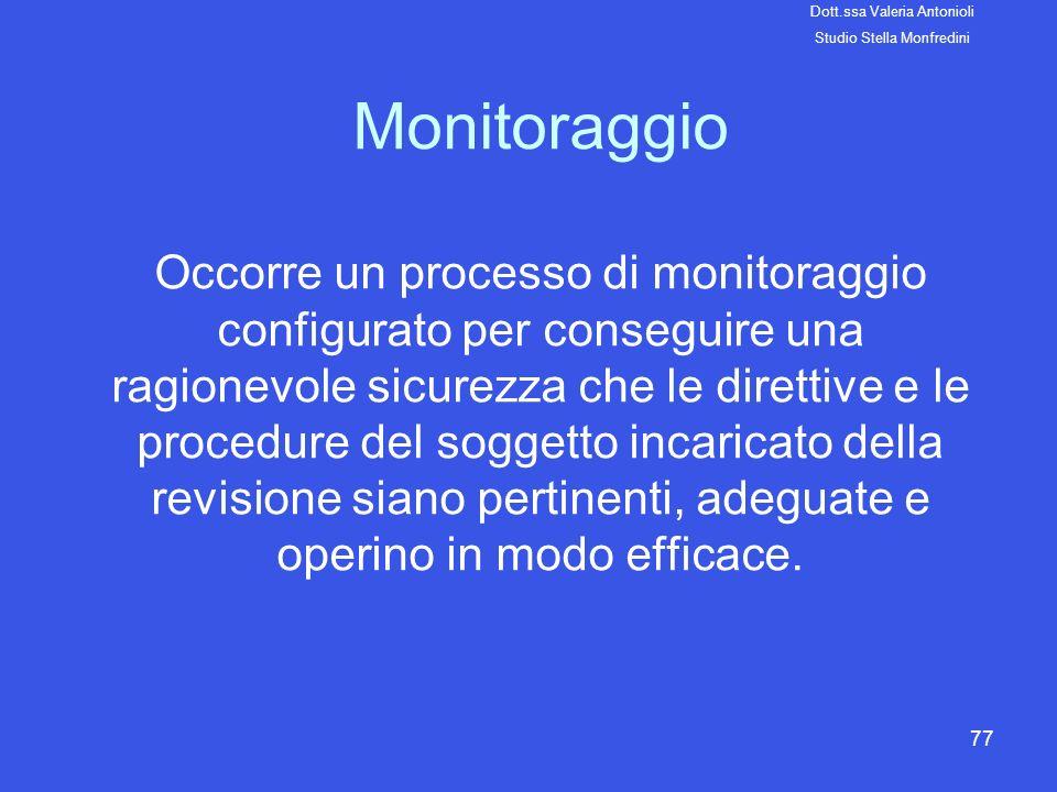 77 Monitoraggio Occorre un processo di monitoraggio configurato per conseguire una ragionevole sicurezza che le direttive e le procedure del soggetto
