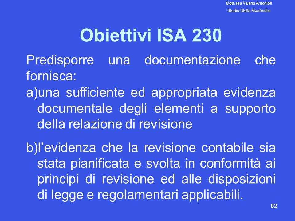 82 Obiettivi ISA 230 Predisporre una documentazione che fornisca: a)una sufficiente ed appropriata evidenza documentale degli elementi a supporto dell
