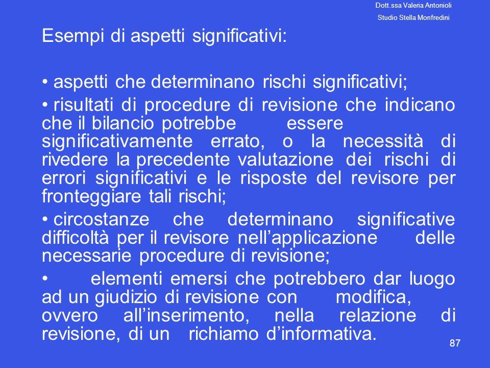 87 Esempi di aspetti significativi: aspetti che determinano rischi significativi; risultati di procedure di revisione che indicano che il bilancio pot