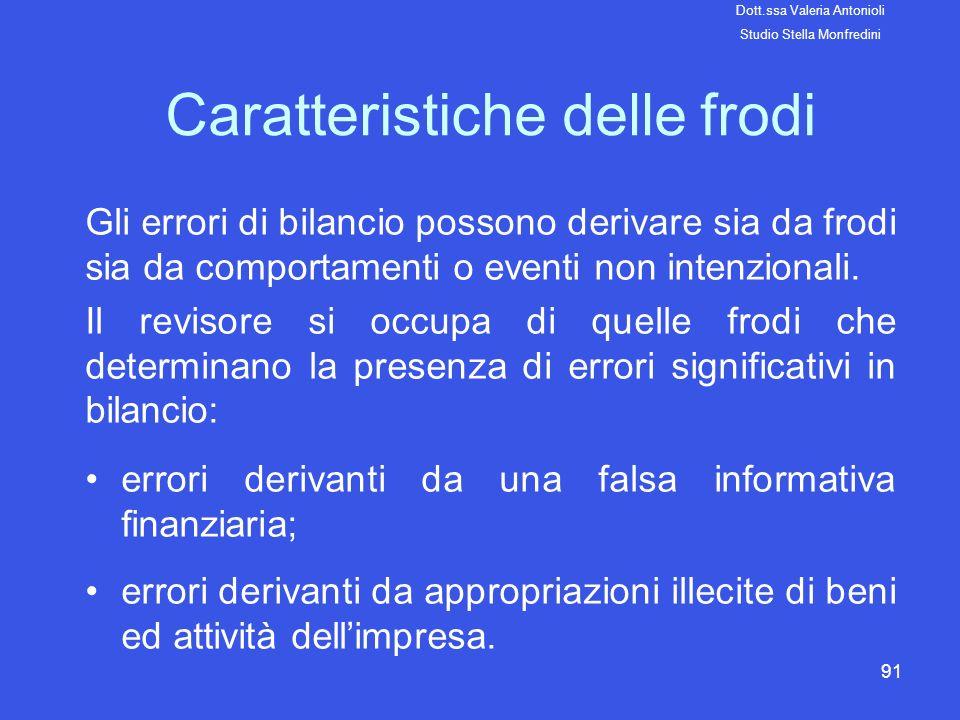 91 Caratteristiche delle frodi Gli errori di bilancio possono derivare sia da frodi sia da comportamenti o eventi non intenzionali. Il revisore si occ