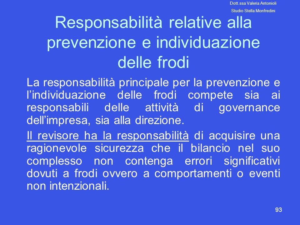 93 Responsabilità relative alla prevenzione e individuazione delle frodi La responsabilità principale per la prevenzione e lindividuazione delle frodi