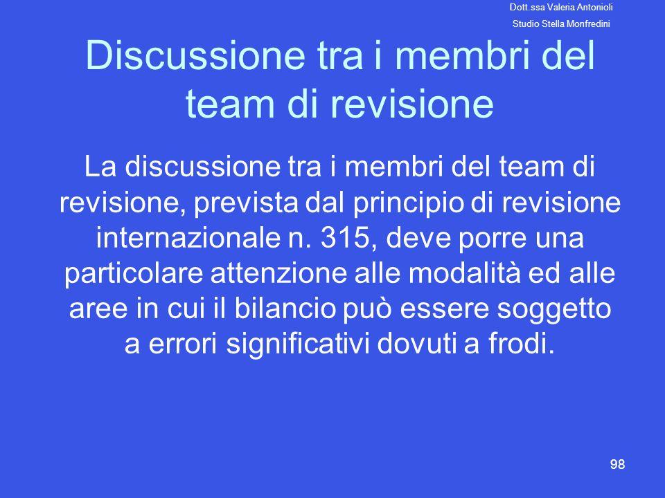 98 Discussione tra i membri del team di revisione La discussione tra i membri del team di revisione, prevista dal principio di revisione internazional