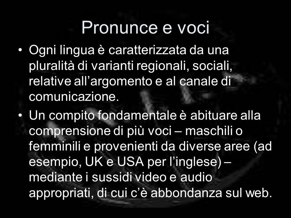 Pronunce e voci Ogni lingua è caratterizzata da una pluralità di varianti regionali, sociali, relative allargomento e al canale di comunicazione.