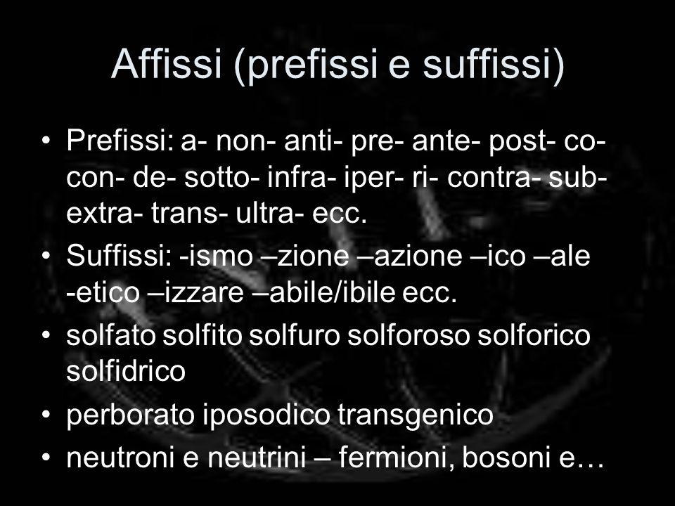 Affissi (prefissi e suffissi) Prefissi: a- non- anti- pre- ante- post- co- con- de- sotto- infra- iper- ri- contra- sub- extra- trans- ultra- ecc.