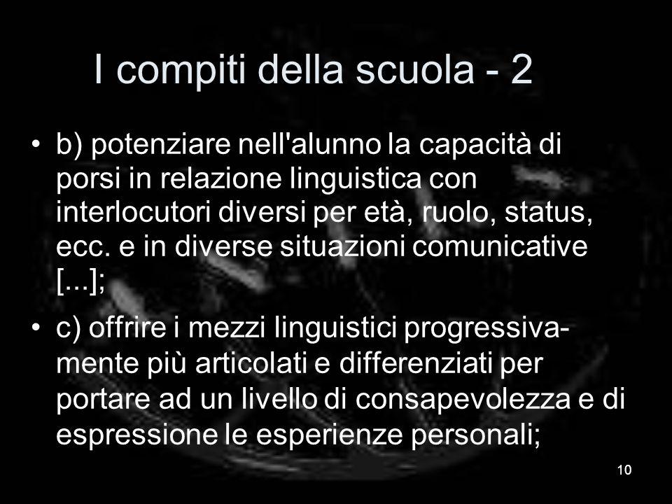 I compiti della scuola - 2 b) potenziare nell alunno la capacità di porsi in relazione linguistica con interlocutori diversi per età, ruolo, status, ecc.