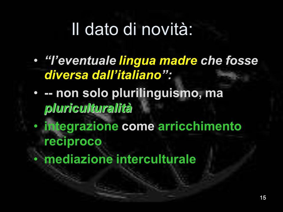 Il dato di novità: leventuale lingua madre che fosse diversa dallitaliano: pluriculturalità-- non solo plurilinguismo, ma pluriculturalità integrazione come arricchimento reciproco mediazione interculturale 15