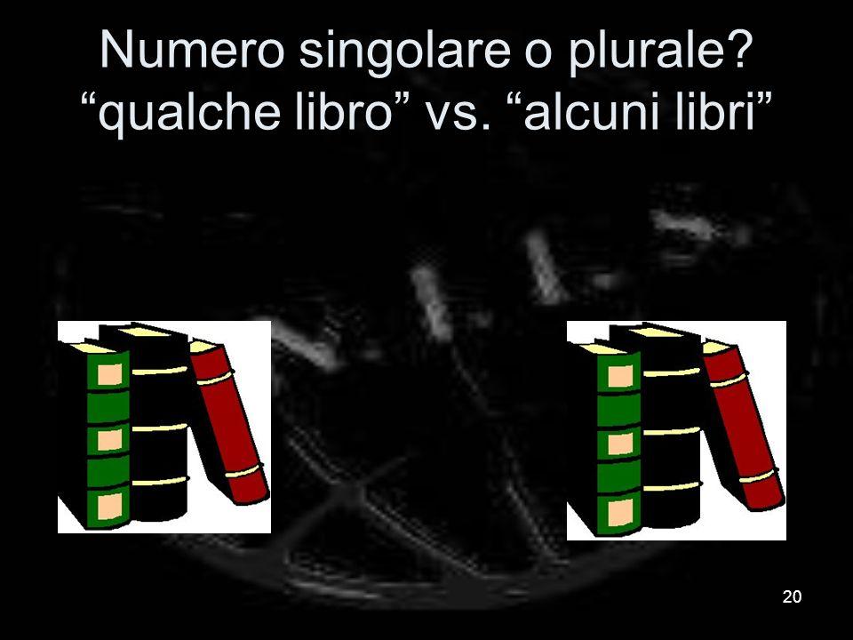 Numero singolare o plurale? qualche libro vs. alcuni libri 20
