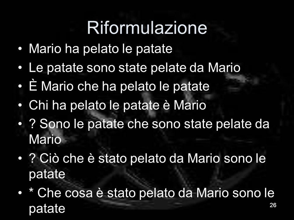 Riformulazione Mario ha pelato le patate Le patate sono state pelate da Mario È Mario che ha pelato le patate Chi ha pelato le patate è Mario .